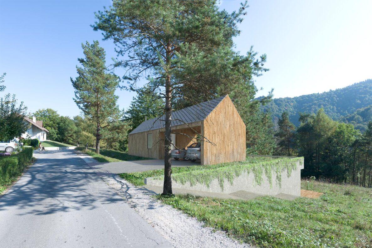 Manjhna lesena hiša pod seboj skriva vkopano prostorno stanovanje