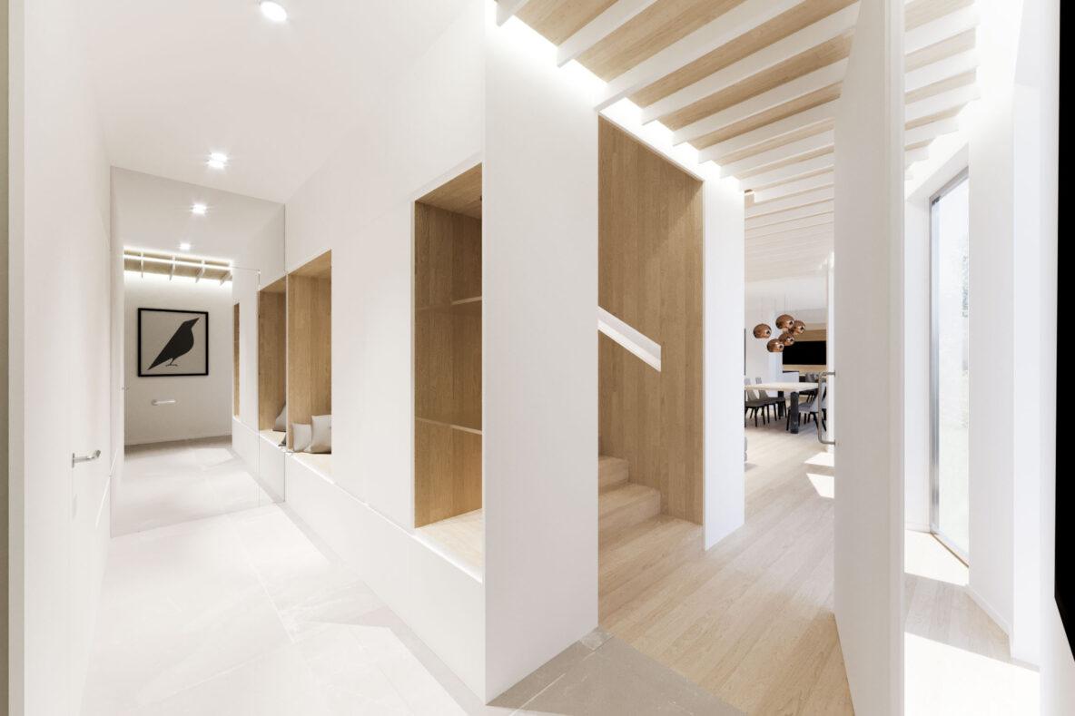 Vstopni prostor z lesenimi nišami