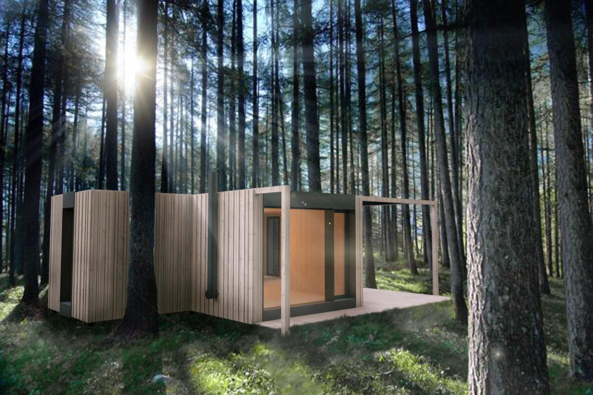 Moderna hiška se prilagaja gozdu, tako da drevesa ostanejo nedotaknjena