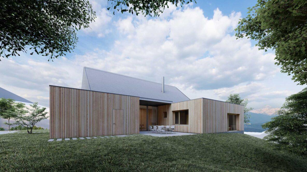 prostori hiše, ki so oblečeni v leseno fasado, med seboj ustvarjajo intimne zunanje terase, ki so podaljšek dnevno bivalnih prostorov
