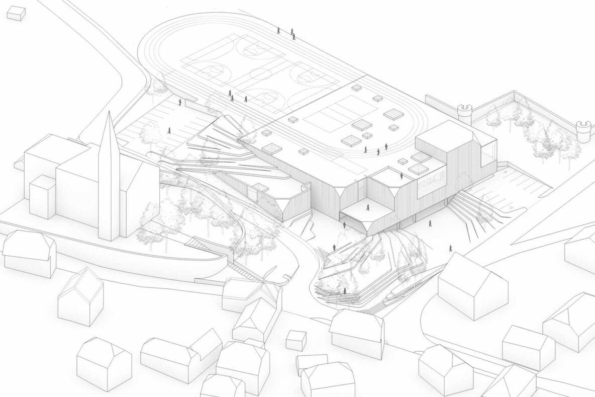 dvorana je delno vkopana s čimer omogoča tekaške steze ter igrišča na strehi