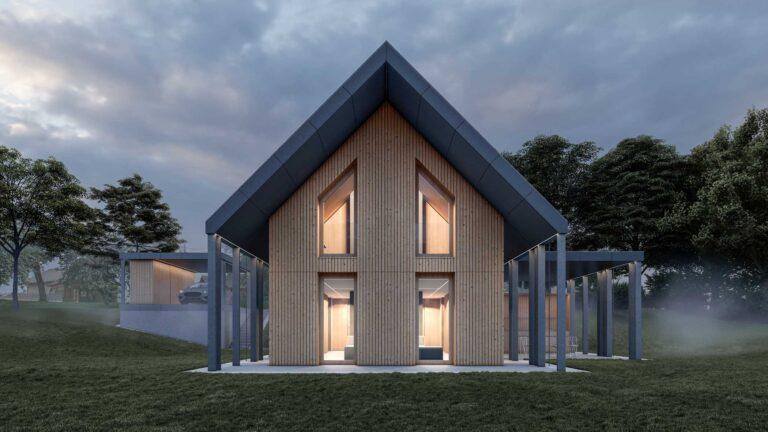 Lesena vikend hiša s poudarki ravnih nadstreškov ponuja letno kuhinjo ter nadkrit parkirni prostor